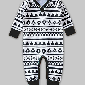 Black & White Geometric Playsuit - Infant