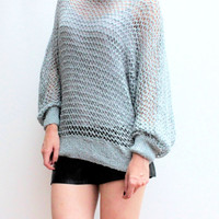 Blue Vintage Sweater/ Vintage Clothing Sweater/Crochet Sweater/