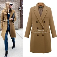 Autumn Winter Suit Blazer Women 2018 Formal Wool Blends Jacket Coat Work Office Lady Long Sleeve Blazer Outerwear Plus Size 5XL