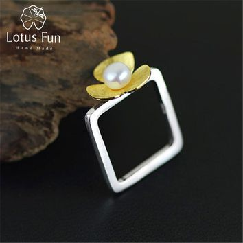 Lotus Fun Real 925 Sterling Silver Natural Pearl Handmade Fine Jewelry Square Ring Fresh Clover Flower Rings for Women Bijoux