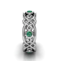 Silver Emerald Men's Celtic Engagement Wedding Anniversary and Promise Eternity Ring Band