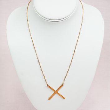 rose gold modern touch initial necklace - x