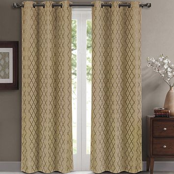 Taupe 84x63 Willow Blackout Window Panels (Set of 2 )