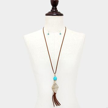 Semi Precious Stone & Faux Suede Tassel Drop Aztec Long Necklace