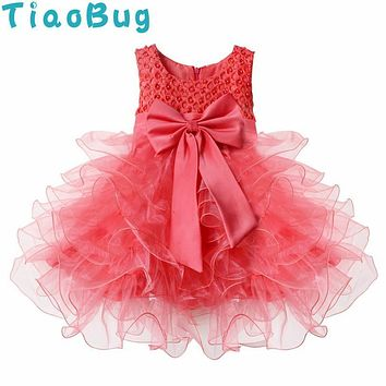 TiaoBug Lovely Beading Bowknot Little Girls Pageant Dress 2017 First Communion Dresses Girls Tiered Birthday Ball Gown 24M-4T