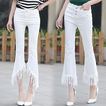 2016 spring summer new capris jeans women flare white elastic pants tassels edges irregular