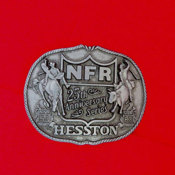 Rodeo Belt Buckle, Vintage NFR 25th Annivery, National Finals Rodeo Hesston 1983 Belt Buckle