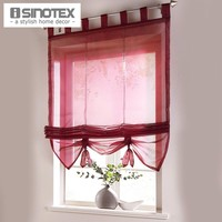 Roman Curtain Floral Printing Sheer Window Curtain For Kitchen Living Room Voile Screening Panel 1 PCS Lot With Plastic Tubes