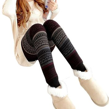 New 2017 Girls Christmas Winter Thick Warm Leggings For Women Black Fitness Punk Velvet Fleece Lined Leggings CM1856