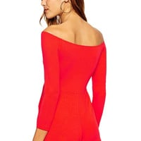 Red Off-shoulder Long Sleeve Romper