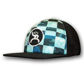 """Hooey Roughy """"Buckle"""", black and blue trucker with a circle Roughy patch"""