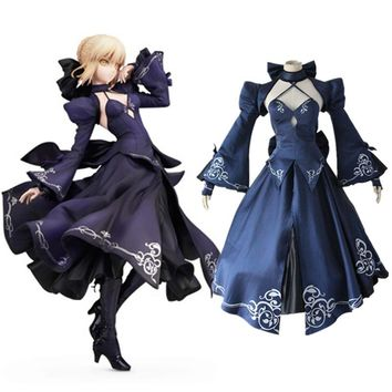 Alter black saber Arturia Pendragon cosplay costumes dress Japanese anime  Fate Zero Fate stay night clothing Halloween