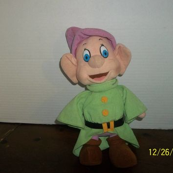 "vintage 1993 mattel walt disney snow white and the 7 seven dwarfs dopey plush 12"" tall"