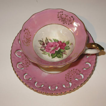 Antique Teacups, Pink Lusterware Saucer Teacup Tea Cup, Saucer Set Lattice Saucer Cut Out