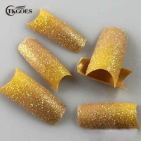 TKGOES 100PCS/Pack Glitter False Nails Golden Yellow Mix Design Acrylic Nails Glitter Tips Plastic False French Nail Tips NEW