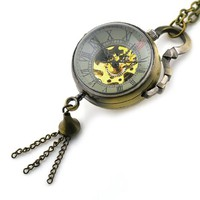 Skeleton Pendant Pocket Watch Mechanical Movement Hand Wind Steampunk Vintage Style Crystal Ball Roman Numerals
