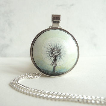 Dandelion, Green Necklace, Green Pendant, Wooden Jewelry, Painted, Miniature Small Painting, Wood Craft
