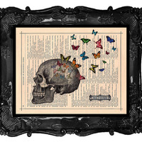 Butterflies Art Print Anatomy Skull Dictionary Art Print Vintage Book Print Anatomical Antique Book Page