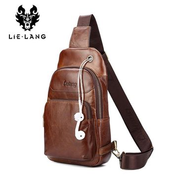 Men Shoulder Bag Casual Brown Cowhide Leather Men's Cross body Bags USB Charging Chest Pack