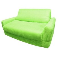 Fun Furnishings Micro Suede Sofa Sleeper w/ Pillows in Lime Green