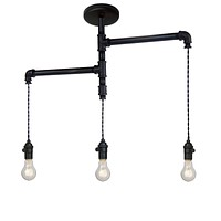 Industrial Custom Rustic Pipe Chandelier - 3 Light