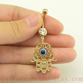 hamsa hand Belly Button Rings,hamsa Navel Jewlery,evil eye belly button rings,friendship belly button jewelry