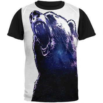 Galaxy Bear Adult Black Back T-Shirt