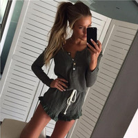 Gray Drawstring Button Up Long Sleeve Romper