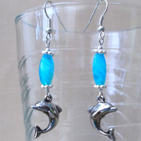 Turquoise Swirl Aqua Glass Beads w/ 3D Dolphin Charm Dangle Earrings, Original Design, Fashion Jewelry, Sea Creatures, Beach, Summer Colors