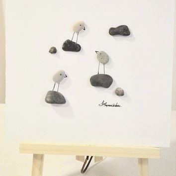 Unframed • Unique Pebble Art Love Birds And Stones • Fits in IKEA RIBBA shadow box frame