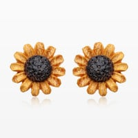 A Pair of Sunflower Handcarved Earring Stud