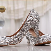 Fashion women's crystal rhinestone shoes platform shoes bride wedding shoes  bridesmaid high heels pumps