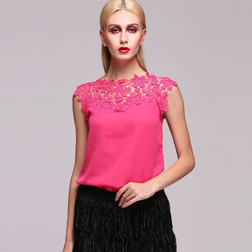 Rose Red Floral Lace Sleeveless Blouse