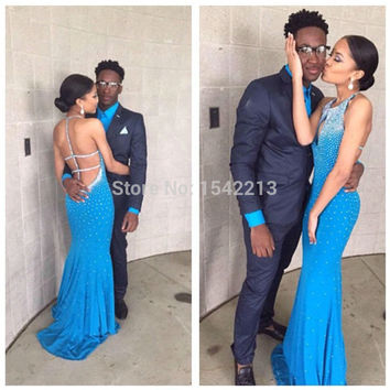 Halter Style Heavy Beaded Long Sexy Blue Mermaid Prom Dress Evening Party Gowns Vestido De Festa 2015