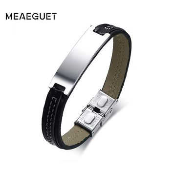 Meaeguet High Quality Pu Leather Bracelet & Bangle For Men Braided ID Identification Male Jewelry Free Engraved Service