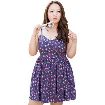 CREYHY3 4XL Summer Women Plus Size Sweet Cute Floral Sexy Bandage Stretch Cotton Strap Dress Wraps Bust Pleated Sundress Free Shipping