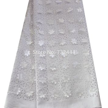 3D laser cut lace fabric high quality floral nigeria lace fabric for wedding