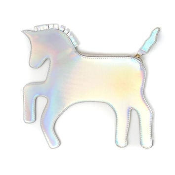 Silver Holographic Unicorn Clutch Bag