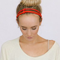 Multi Layer Knot Headband Non-Slip Thin Head Band Boho Hair Band Fashion Hair Accessories (Layered Knotted Orange Red)