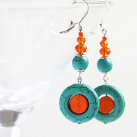 Orange and Blue Turquoise Earrings Mod Look by KapKaDesign on Etsy