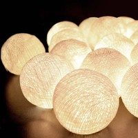 Creamy White 2.6M 20 latterns lights cotton ball string light for xmas festival decoration bar outdoor beautify