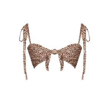 Take Me There Leopard Animal Print Front Tie Crop Top