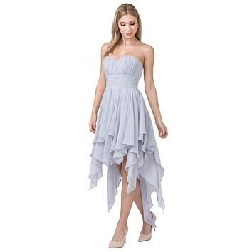 Multi Layer Chiffon Bridesmaid Dress Silver High Low Strapless
