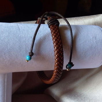 Boho Mens Jewelry Leather Bracelet with 2 Turquoise beads, Surfer Hippy Bracelet, Looks great on women too!