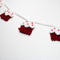 Crochet Garland, Red Velvet Cupcake Bunting, Summer Party Decoration, Nursery Wall Hanging, Kitchen Wall Decor
