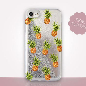 Pineapple Glitter Phone Case - Transparent Case - Clear Case - Transparent iPhone 7 - Clear iPhone 7 Plus - Gel Case - iPhone 6/6S