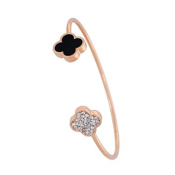 European Popular Gold Color Adjustable Cuff Open Bangles for Women Tiny Wire Bracelets with Sweet Four Leaf Clover Rhinestone