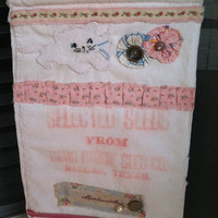 Vintage seed sack banner/sign old world style kitten