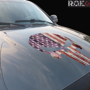 Punisher Skull US/American Flag Distressed Vinyl Hood Decal Fits all cars/trucks