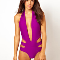 ASOS Deep Plunge Cut Out Side Swimsuit